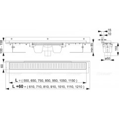 ALCAPLAST-APZ1004-850-FLEXIBLE podlahový žlab ke zdi v.85mm svislý odtok (min.900mm kout) (APZ1004-850)