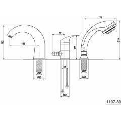 AQUALINE - KASIOPEA tříprvková baterie na okraj vany, chrom 1107-30