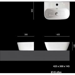 D1 keramické umyvadlo 42,5x30x14,5 cm