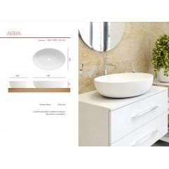 ABBA oválné umyvadlo z litého mramoru 59,6x13,3x39,8 cm
