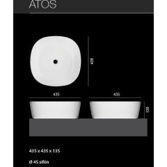 ATOS umyvadlo se zaoblenými rohy 43,5 x 43,5 x 13,5 cm