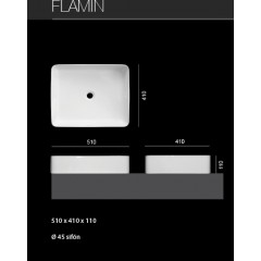FLAMIN hranaté keramické umyvadlo 51 x 41 x 11 cm