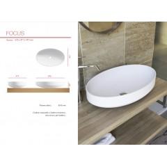 FOCUS oválné umyvadlo z litého mramoru 67,2x14,7x41,7 cm