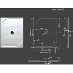 Bent 120x90cm  sprchová vanička z litého mramoru obdélníková s protiskluzovou úpravou