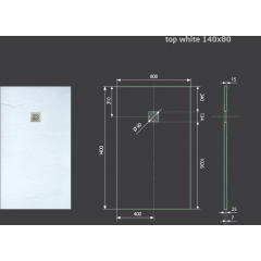 Hard TOP 140x80 sprchová vanička z litého mramoru s břidlicovým povrchem bílá