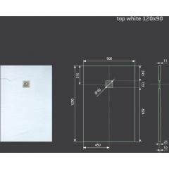 Hard TOP 120x90 sprchová vanička z litého mramoru s břidlicovým povrchem bílá