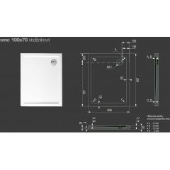 SMC 100x70cm sprchová vanička z tvrzeného polymeru