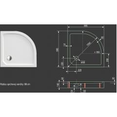 SMC MAXI 90x90cm sprchová vanička z tvrzeného polymeru čtvrtkruhová