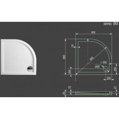 SMC 80x80cm sprchová vanička z tvrzeného polymeru čtvrtkruhová