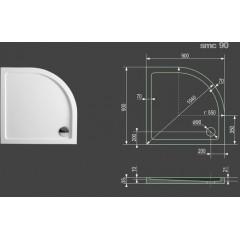 SMC 90x90cm sprchová vanička z tvrzeného polymeru čtvrtkruhová