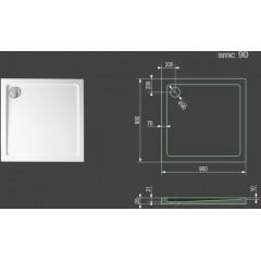 SMC 90x90cm sprchová vanička z tvrzeného polymeru čtvercová