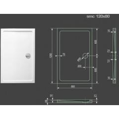 SMC 120x80cm sprchová vanička z tvrzeného polymeru