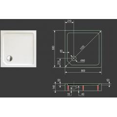 SMC MAXI 80x80cm sprchová vanička z tvrzeného polymeru čtvercová