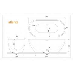Volně stojící akrylátová vana ATLANTA 170x80 cm