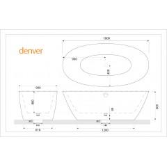 Volně stojící akrylátová vana DENVER 180x90 cm