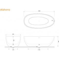 Volně stojící akrylátová vana OKLAHOMA 180x90 cm