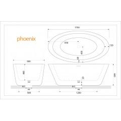 Volně stojící akrylátová vana PHOENIX 170x90 cm