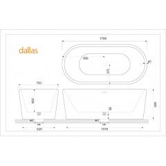 Volně stojící akrylátová vana DALLAS 170x75 cm