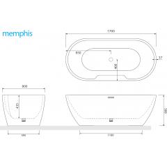 Volně stojící akrylátová vana MEMPHIS 170x80cm