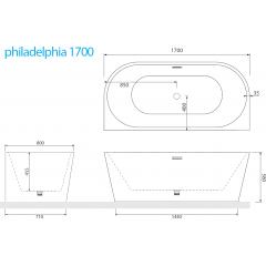 Volně stojící akrylátová vana PHILADELPHIA 170x80 cm