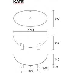 KATE 170x80cm koupací vana z litého mramoru