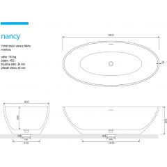 NANCY 180x85x52 cm koupací vana z litého mramoru