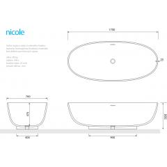 NICOLE 170x76x50 cm koupací vana z litého mramoru