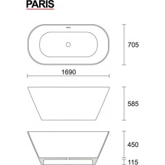 PARIS 169x70,5 cm koupací vana z litého mramoru