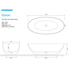 SHARON 170x79,5x51 cm koupací vana z litého mramoru
