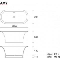 AMY 170x56cm koupací vana z litého mramoru