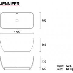 JENNIFER 179x75,5cm koupací vana z litého mramoru