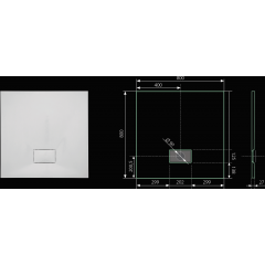 SMC GLOSSY 80x80cm sprchová vanička z tvrzeného polymeru čtvercová