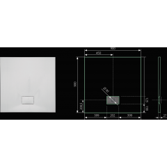 SMC GLOSSY 90x90cm sprchová vanička z tvrzeného polymeru čtvercová