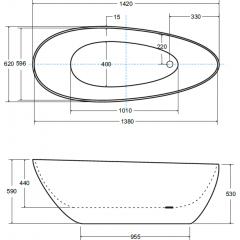 GOYA XS 142x62 cm volně stojící koupací vana z litého mramoru