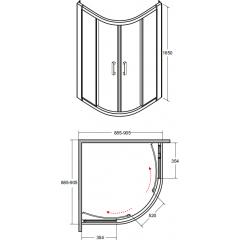 MODERN čtvrtkruhová sprchová zástěna 90x90x165cm