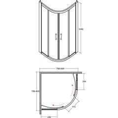 MODERN čtvrtkruhová sprchová zástěna 80x80x185cm