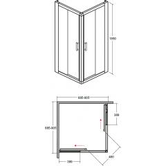 MODERN čtvercová sprchová zástěna 90x90x185cm