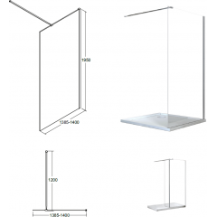 AVEO 140 sprchová zástěna WALK IN, 140-142,5cm x 195cm