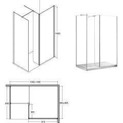 INDRE 140 sprchová zástěna WALK IN, 140 x 90 x 195cm