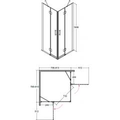 VIVA čtvercová sprchová zástěna 80x80x195cm
