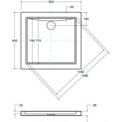 AQUARIUS SLIMLINE čtvercová sprchová vanička 90x90x3cm