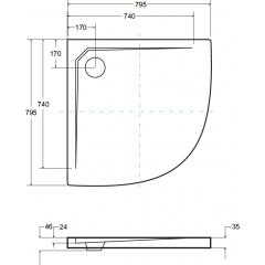 AXIM ULTRASLIM čtvrtkruhová sprchová vanička 80x80cm