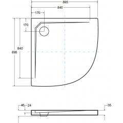 AXIM ULTRASLIM čtvrtkruhová sprchová vanička 90x90cm