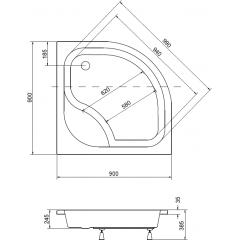 DIPER I čtvrtkruhová sprchová vanička 90x90x24cm