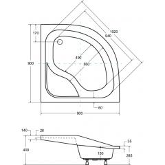 OLIVER I čtvrtkruhová sprchová vanička 90x90x15cm