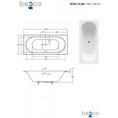 Asymetrická vana VITAE SLIM PLUS 150 x 75 cm