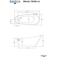Volně stojící akrylátová vana MELODY 150x80 cm