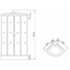 Sprchový box LIDO kompletní box s nízkou vaničkou 90x90x218 cm