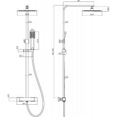 Sprchový sloup CALVINO s termostatickou baterií, chrom