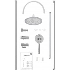 Sprchový set s tropickým deštěm bez baterie FLEXO WHITE (DX12008)